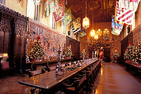 image 9-601-57 California, Hearst Castle, Refectory at Christmas