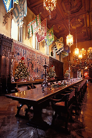 image 9-601-60 California, Hearst Castle, Refectory at Christmas