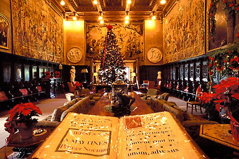 image 9-601-68 California, Hearst Castle, Assembly Room at Christmas