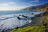 beach and ocean at lucia along highway one stock photography | California, Big Sur, Kirk Creek Campground beach, Lucia , image id 9-609-70