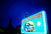 dusk stock photography | California, Oakland, Car wash sign, image id S2-20-999