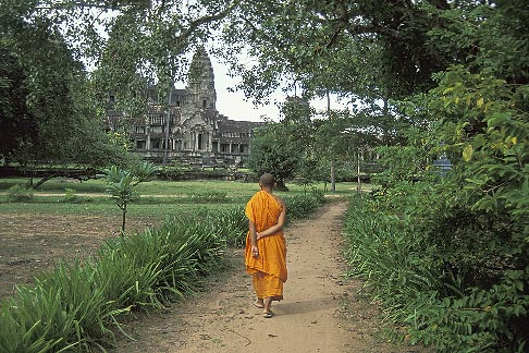 image 0-400-63 Cambodia, Angkor Wat, Buddhist monk