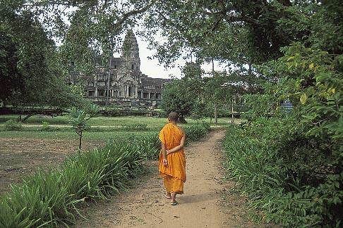 image 0-400-63 Cambodia, Angkor Wat, Buddhist monk
