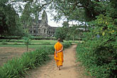 walk stock photography | Cambodia, Angkor Wat, Buddhist monk, image id 0-400-63