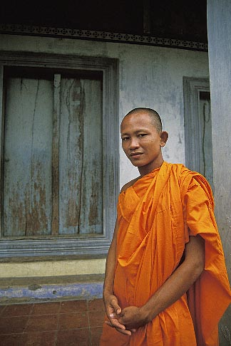 image 0-400-78 Cambodia, Angkor Wat, Buddhist monk