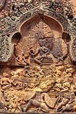 vertical stock photography | Cambodia, Siem Reap, Banteay Srei, carved relief, image id 0-402-21