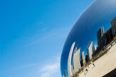horizontal stock photography | Illinois, Chicago, Millennium Park reflecting sculpture , image id 6-435-4732