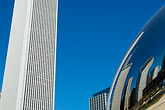 skyline stock photography | Illinois, Chicago, Millennium Park sculpture and office building, image id 6-435-4735