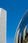 skyline stock photography | Illinois, Chicago, Millennium Park sculpture and office building, image id 6-435-4739