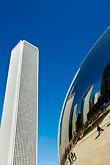 skyline stock photography | Illinois, Chicago, Millennium Park sculpture and office building, image id 6-435-4740