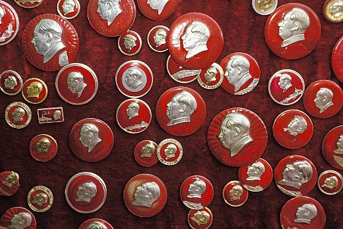 image 4-103-3 China, Buttons of Chairman Mao at street stall