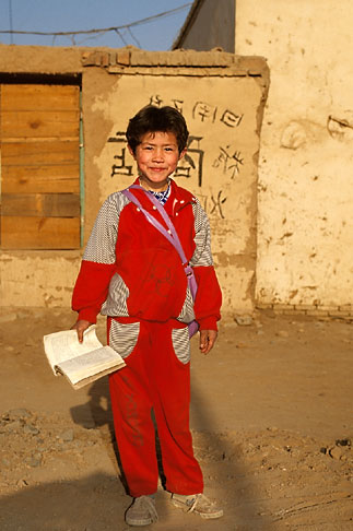 image 4-155-20 China, Turpan, Uighur child on way to school