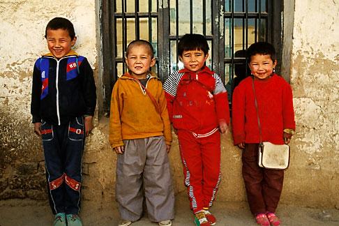 image 4-155-34 China, Turpan, Uighur school children