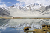 snow capped stock photography | China, Pamirs, Sheep grazing by lakeside, image id 4-432-23
