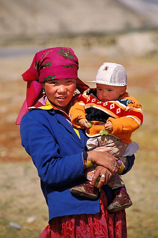 image 4-438-91 China, Pamirs, Young Kirghiz girl and child