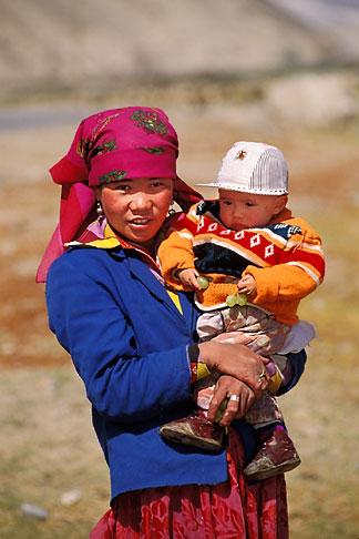 image 4-438-91 China, Pamirs, Young Kirghiz girl and child
