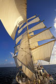 ocean stock photography | Cruises, Clipper Ships, Royal Clipper at full sail from the bowsprit, image id 3-600-11