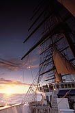 five masts stock photography | Cruises, Clipper Ships, Sunset from the bowsprit, Royal Clipper, image id 3-600-5