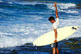 shore stock photography | Cura�ao, Playa Canoa, surfer, image id 3-432-69