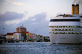 horizontal stock photography | Cura�ao, Willemstad, Cruise ship at dock, image id 3-434-5