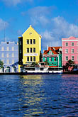 blue stock photography | Cura�ao, Willemstad, Handelskade waterfront, historic buildings, image id 3-435-40