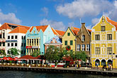 blue stock photography | Cura�ao, Willemstad, Handelskade waterfront, historic buildings, image id 3-435-93