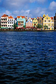 blue stock photography | Cura�ao, Willemstad, Handelskade waterfront, historic buildings, image id 3-436-1