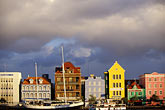 blue stock photography | Cura�ao, Willemstad, Handelskade waterfront, historic buildings, image id 3-436-19