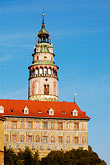 krumlov castle stock photography | Czech Republic, Cesky Krumlov, Castle Round Tower, image id 4-960-1005