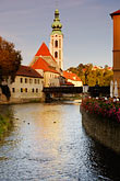 church tower stock photography | Czech Republic, Cesky Krumlov, Vlatava River, image id 4-960-1037