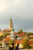 church roof stock photography | Czech Republic, Cesky Krumlov, Cesky Krumlov Castle and town, image id 4-960-1113