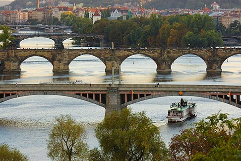 4-960-1169  stock photo of Czech Republic, Prague, Bridges over River Vlatava