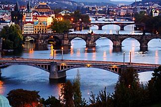 4-960-1202  stock photo of Czech Republic, Prague, Bridges over River Vlatava