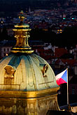 flag stock photography | Czech Republic, Prague, Dome of St. Nicholas Church, Mala Strana, image id 4-960-1208
