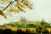 elevated view stock photography | Czech Republic, Prague, Hradcany castle in the rain, image id 4-960-1458