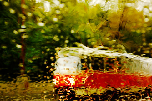 4-960-1470  stock photo of Czech Republic, Prague, Tramcar in the rain