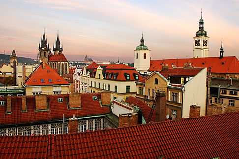 image 4-960-168 Czech Republic, Prague, Rooftops at dawn