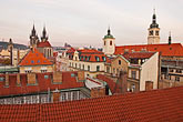 red stock photography | Czech Republic, Prague, Rooftops at dawn, image id 4-960-168