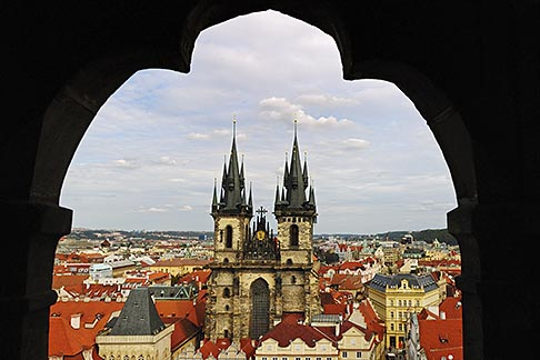 4-960-271  stock photo of Czech Republic, Prague, Tyn Cathedral seen from Old Town Hall