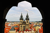 city view from tower stock photography | Czech Republic, Prague, Tyn Cathedral seen from Old Town Hall, image id 4-960-271