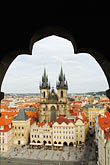 city view from tower stock photography | Czech Republic, Prague, Tyn Cathedral seen from Old Town Hall, image id 4-960-272
