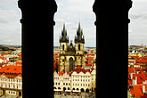 sacred plaza stock photography | Czech Republic, Prague, Tyn Cathedral seen from Old Town Hall, image id 4-960-290