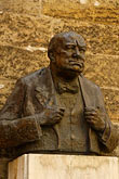 statue stock photography | Czech Republic, Prague, Bust of Winston Churchill, image id 4-960-6509