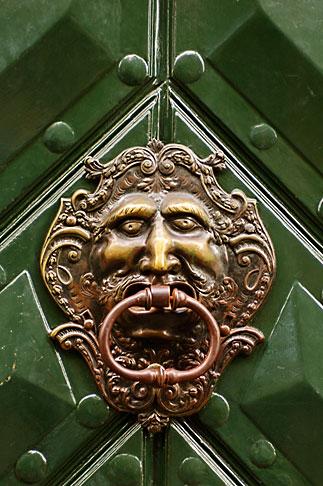 image 4-960-6698 Czech Republic, Prague, Ornate door knocker