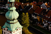 church roof stock photography | Czech Republic, Cesky Krumlov, St. Jost Church tower, image id 4-960-7078