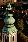 church steeple stock photography | Czech Republic, Cesky Krumlov, St. Jost Church and town, image id 4-960-7079