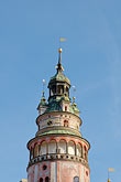 ornate stock photography | Czech Republic, Cesky Krumlov, Castle Round Tower, image id 4-960-7098