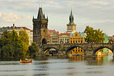 skyline stock photography | Czech Republic, Prague, Charles Bridge over the River Vlatava, image id 4-960-715