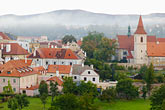 church roof stock photography | Czech Republic, Cesky Krumlov, View of town, image id 4-960-7190