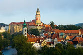 roof stock photography | Czech Republic, Cesky Krumlov, Cesky Krumlov castle and town, image id 4-960-7198